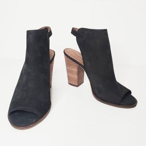 Lucky Brand Lisza Open Toe Bootie Black 7.5
